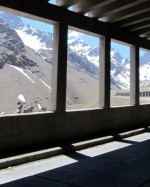 The avalanche shelters still give a view of the mountains